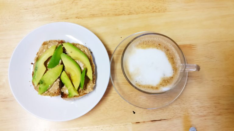 avocado on bread with coffee